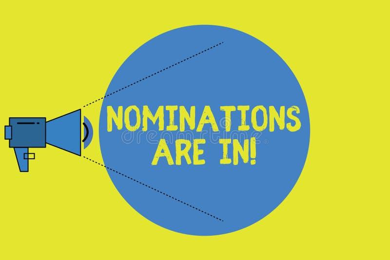 La nota di scrittura che mostra le nomine è dentro Foto di affari che montra formalmente scelta del qualcuno candidato ufficiale  royalty illustrazione gratis