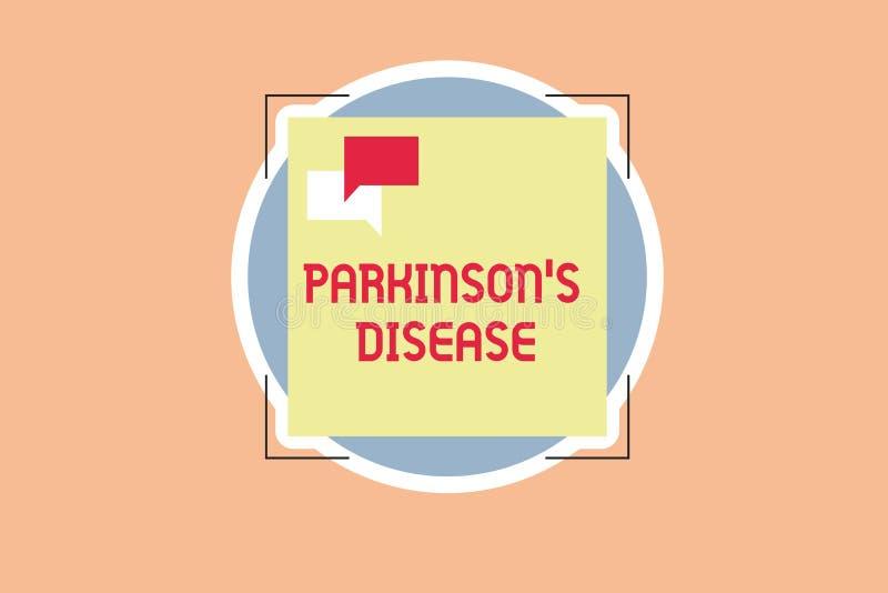 La nota di scrittura che mostra Parkinson s è malattia Foto di affari che montra disordine del sistema nervoso che colpisce il mo royalty illustrazione gratis