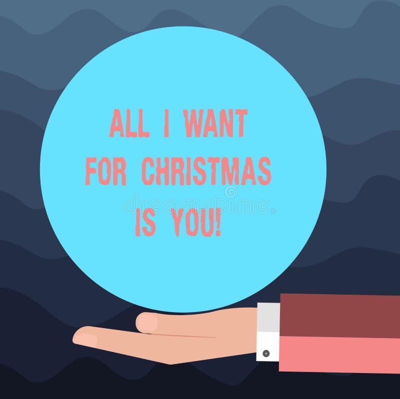 La nota di scrittura che mostra tutti che voglia per il Natale è voi Foto di affari che montra festa per celebrare nella sensibil immagine stock libera da diritti