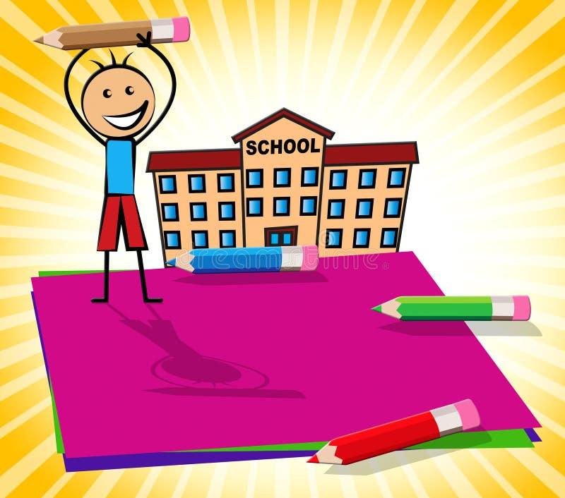 La nota en blanco con el niño de Copyspace exhibe el ejemplo 3d libre illustration