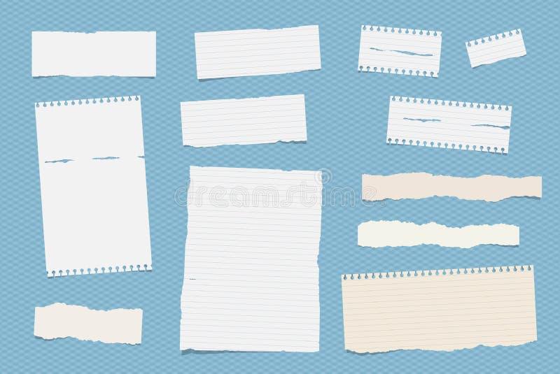 La nota gobernada blanca, cuaderno, hojas de papel del cuaderno se pegó en modelo ajustado azul stock de ilustración