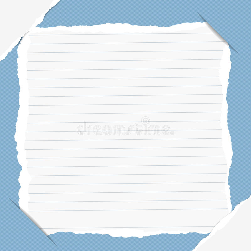 La nota gobernada rasgada, cuaderno, hoja del cuaderno insertada en fondo ajustado azul con blanco rasgó el papel en esquinas stock de ilustración