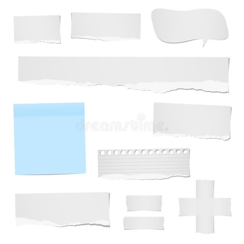 La nota governata ed in bianco lacerata, le strisce di carta, del taccuino, il fumetto per testo o il messaggio hanno attaccato c illustrazione vettoriale