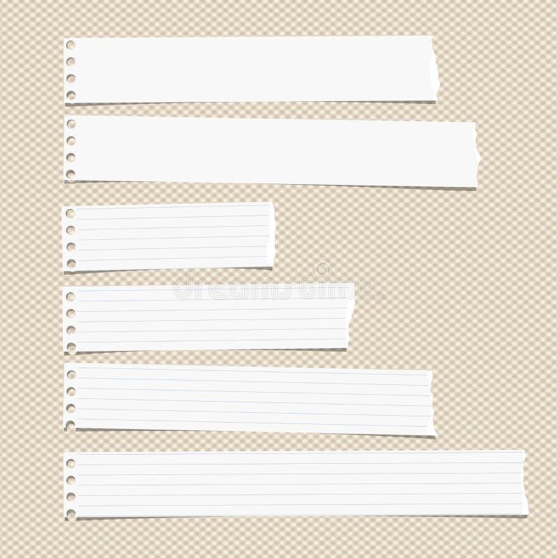 La nota lacerata orizzontale governata bianca, il taccuino, strati di carta del quaderno ha attaccato sul modello quadrato marron illustrazione vettoriale