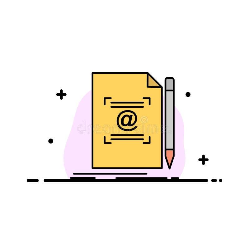 La nota, letra, texto, correo, crea la línea plana plantilla llenada del negocio de la bandera del vector del icono ilustración del vector
