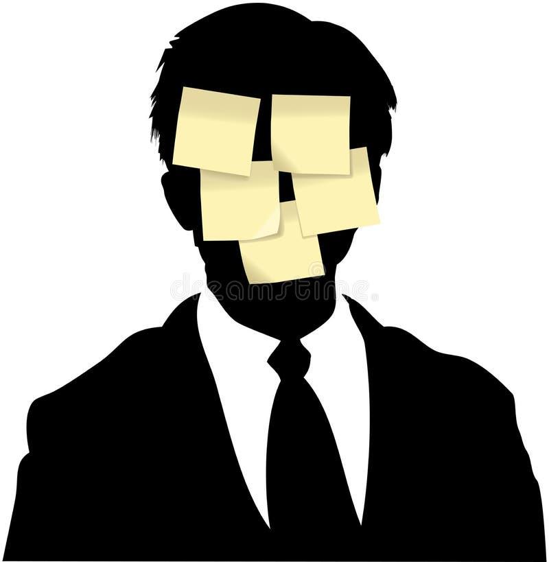 La nota pegajosa observa recordatorio del hombre de negocios stock de ilustración
