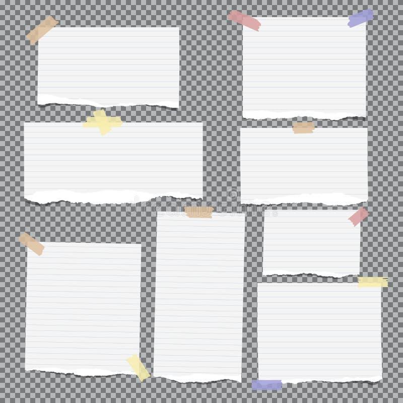 La note blanche déchirée, carnet, bandes de cahier a collé avec la bande collante sur le fond carré gris illustration libre de droits