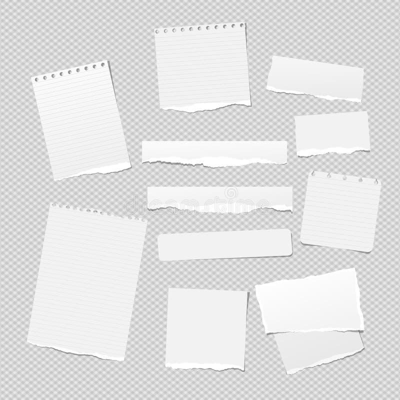 La note blanche, morceaux de papier de carnet avec les bords déchirés a collé sur le backgroud carré blanc Illustration de vecteu illustration stock