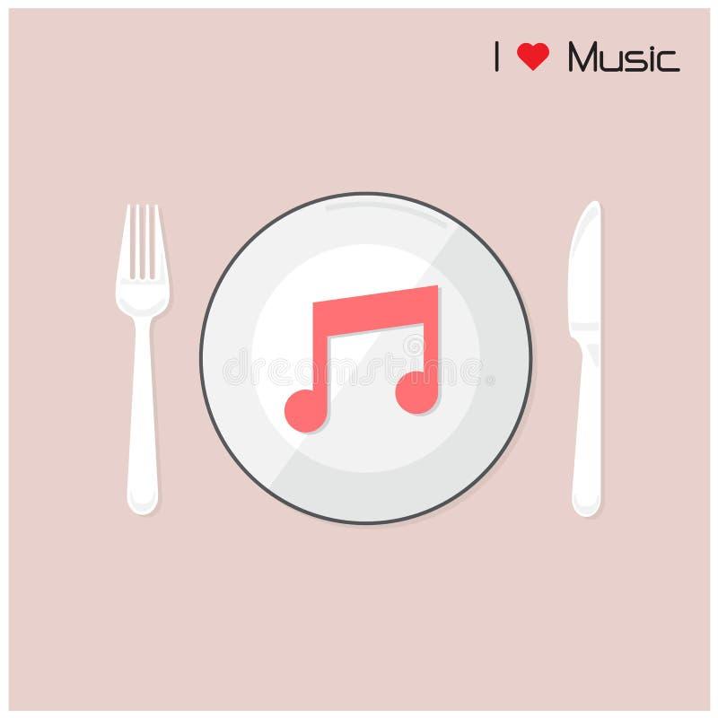 Download La Note Créative De Musique Se Connectent Le Disque Avec La Fourchette Et Cuillère, J'aime Le Mus Illustration de Vecteur - Illustration du festival, fourchette: 45370127