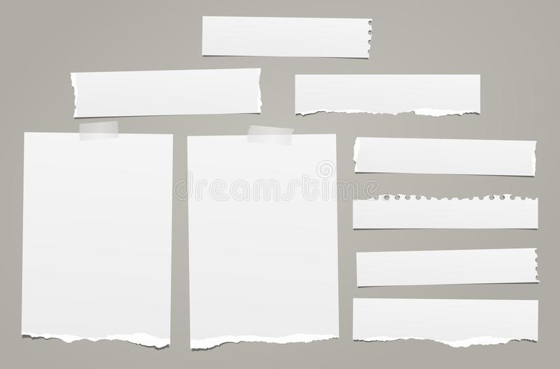 La note déchirée blanche, morceaux de papier de carnet avec les bords déchirés a collé sur le backgroud gris Illustration de vect illustration de vecteur