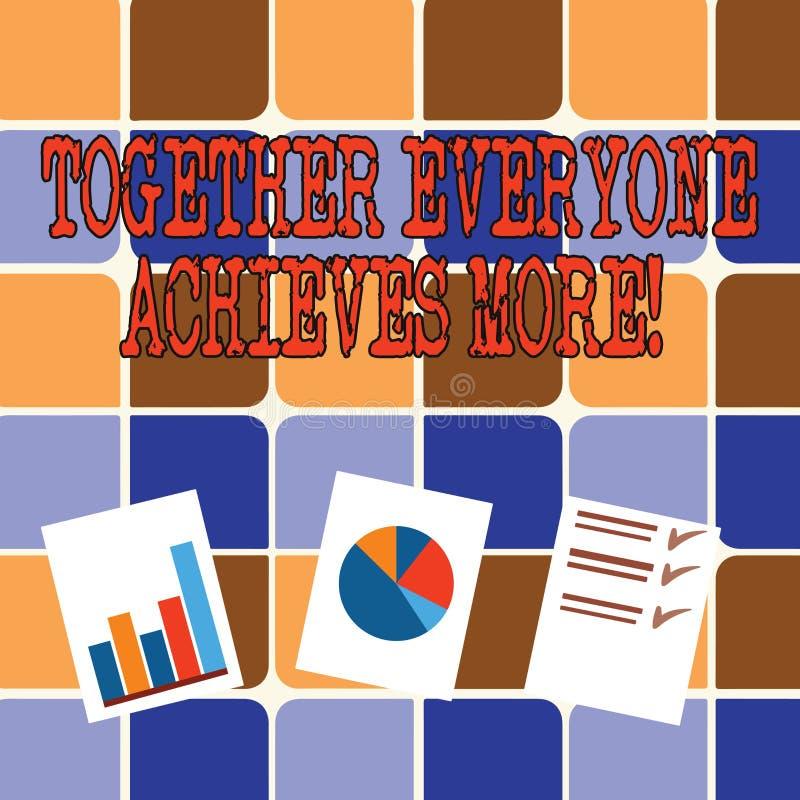La note d'écriture montrant ensemble chacun réalise plus Membres de présentation de photo d'affaires créer le sens fort de synerg illustration de vecteur