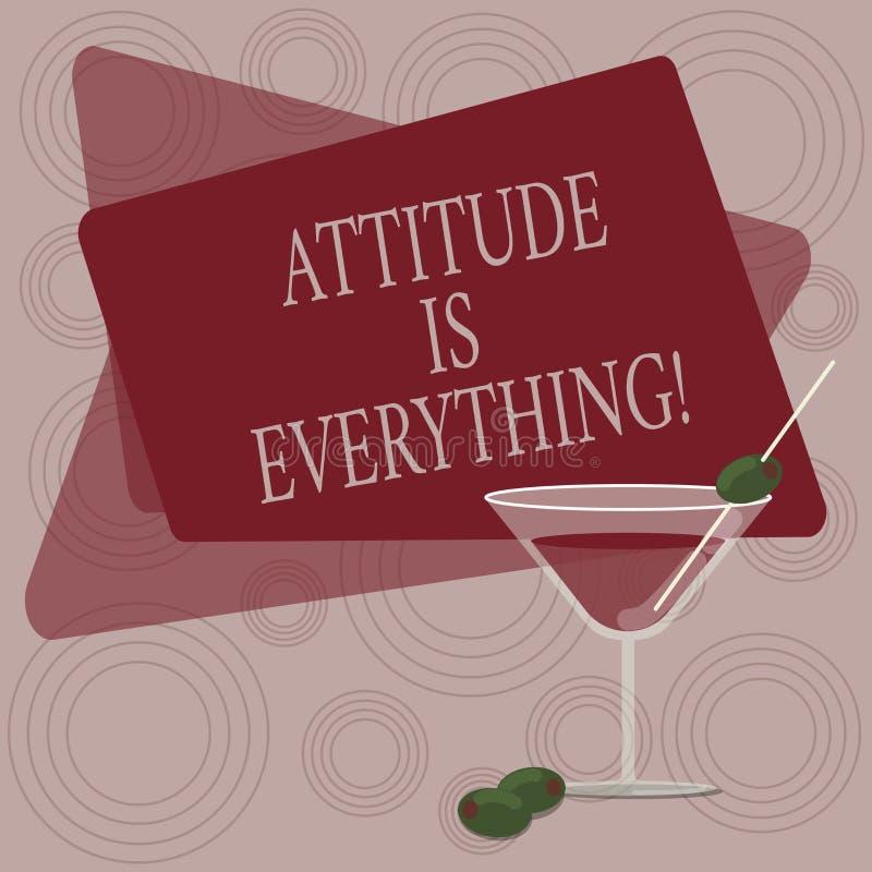 La note d'écriture montrant l'attitude est tout La compréhension de présentation de photo d'affaires persuade notre attitude au s illustration de vecteur