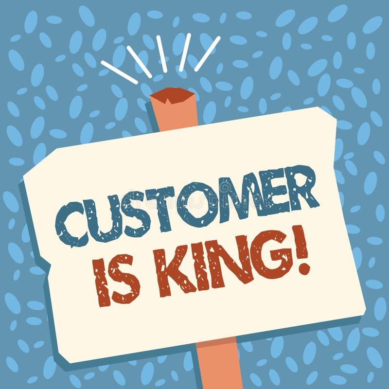 La note d'écriture montrant le client est roi Le service de présentation de photo d'affaires fournissent attentivement et correct illustration libre de droits