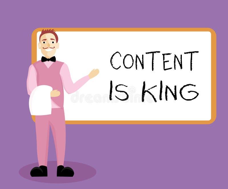 La note d'écriture montrant le contenu est roi Le contenu de présentation de photo d'affaires est le coeur des stratégies marketi illustration de vecteur