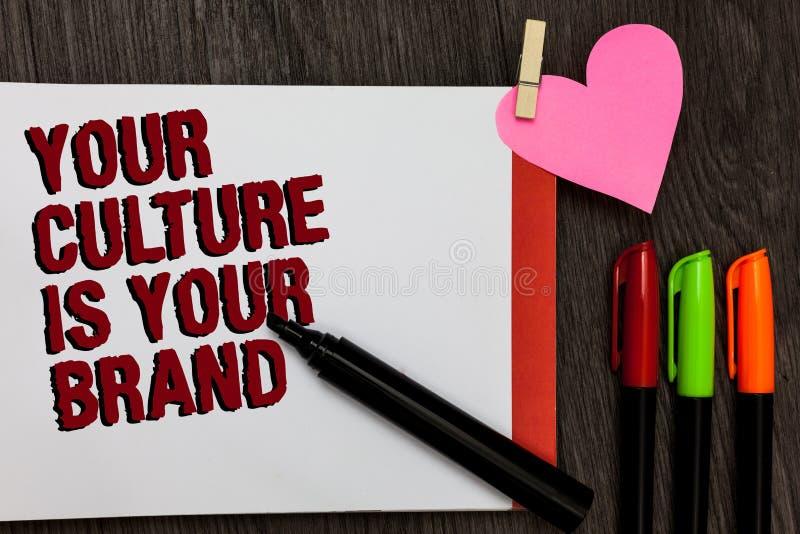 La note d'écriture montrant votre culture est votre marque Les expériences de présentation de la connaissance de photo d'affaires photo libre de droits