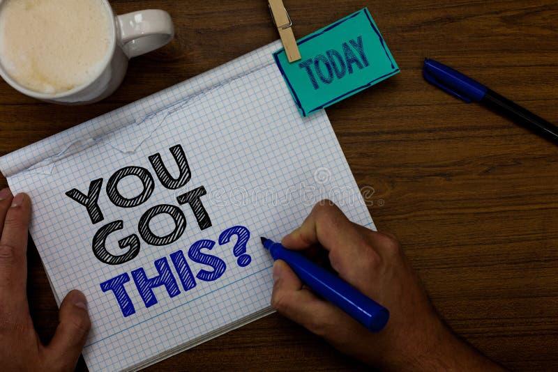 La note d'écriture vous montrant a obtenu cette question La présentation de photo d'affaires croient que les gens réussiront à fa image stock