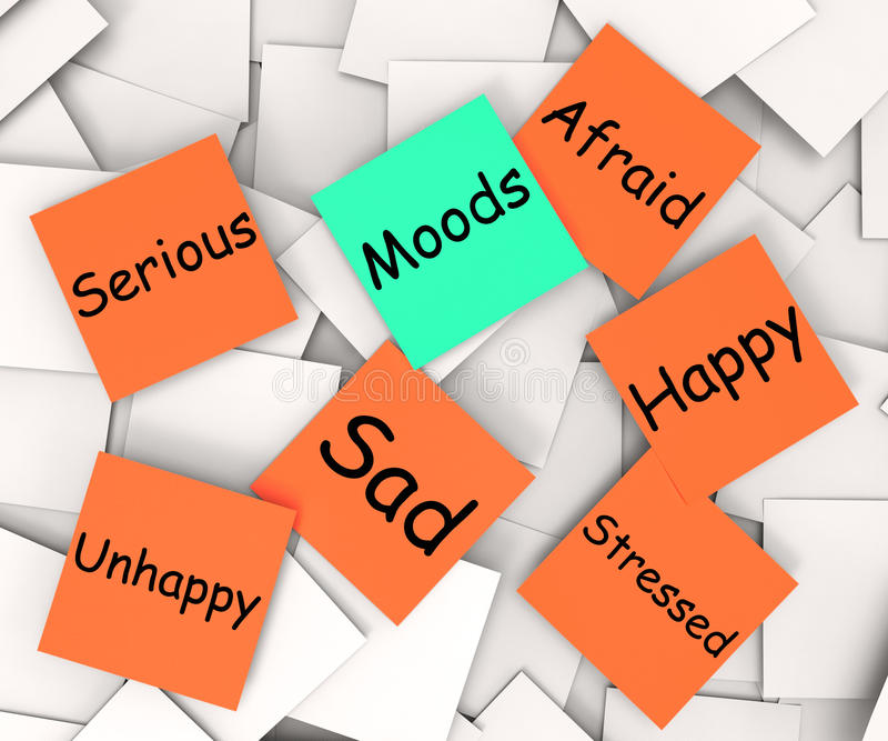 La note de post-it de modes signifie des émotions et des sentiments illustration libre de droits