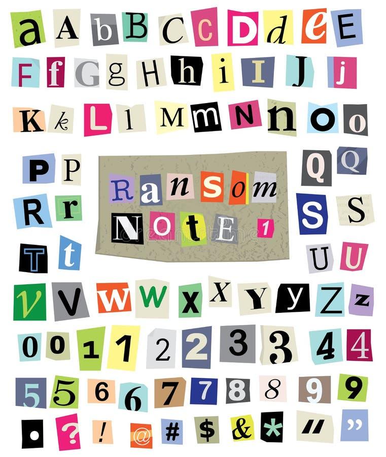 La note de rançon de vecteur #1- a coupé les lettres de papier, nombres, symboles photo stock