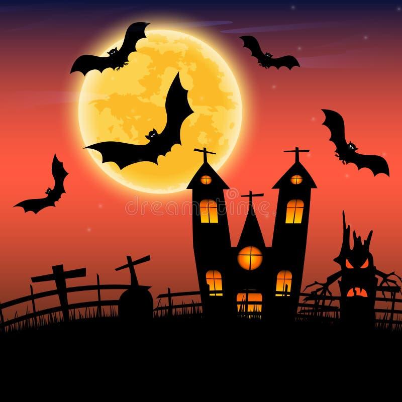La notte di Halloween con il castello e l'albero scuro delle mani modellano sopra in pieno royalty illustrazione gratis