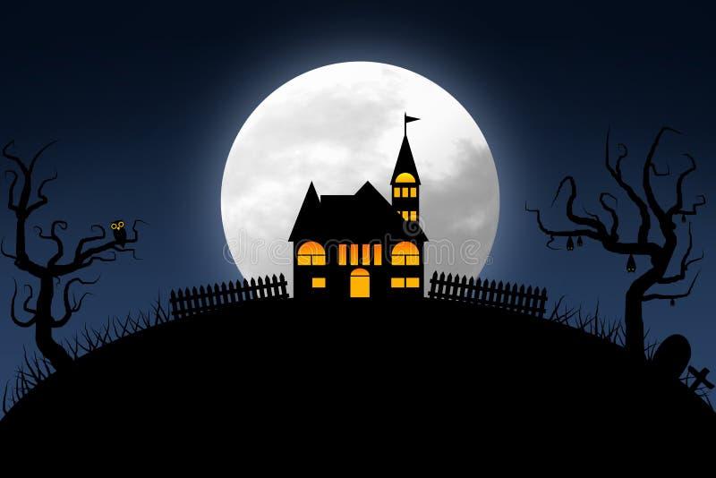 la notte di Halloween con il cielo blu scuro e la luna piena fortificano sulla collina illustrazione di stock