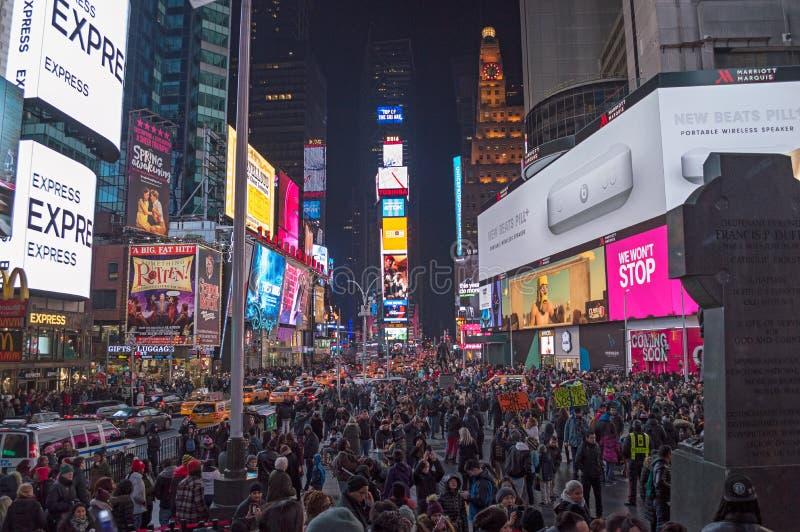 La notte quadra a volte su New York City fotografia stock