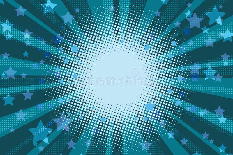 La notte stars il fondo blu di Pop art di festa illustrazione di stock