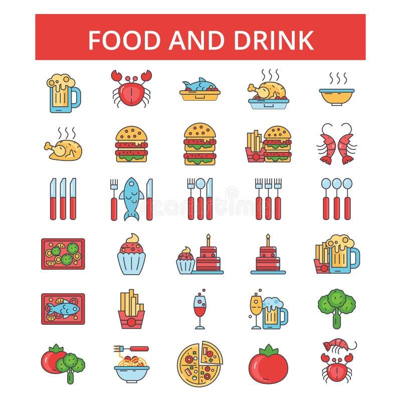 La nourriture boit l'illustration, ligne mince icônes, signes plats linéaires, symboles de vecteur illustration libre de droits