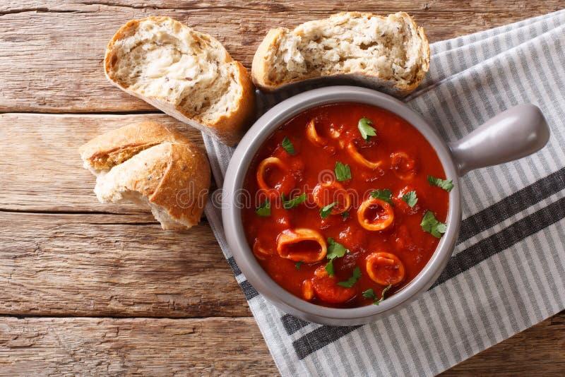 La nourriture italienne faite maison a braisé le calmar en sauce tomate avec des épices image libre de droits