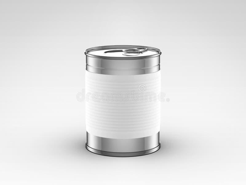 La nourriture peut avec le label blanc illustration de vecteur