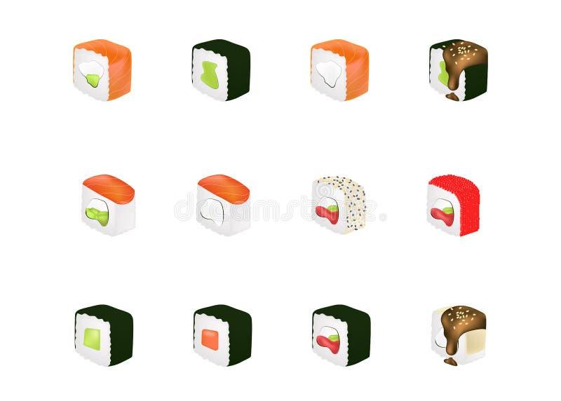 La nourriture réglée avec des sushi et des petits pains solated l'illustration de vecteur Concept réaliste illustration libre de droits