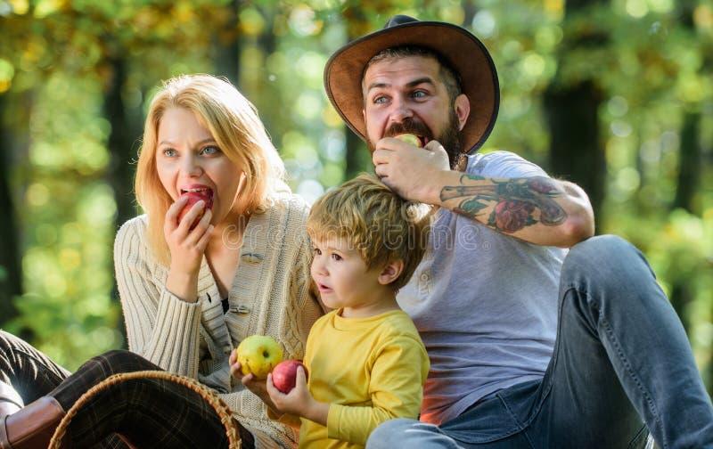 La nourriture saine est la vie saine Fils heureux avec des parents dans le pique-nique de famille de forêt d'automne Nourriture s photographie stock