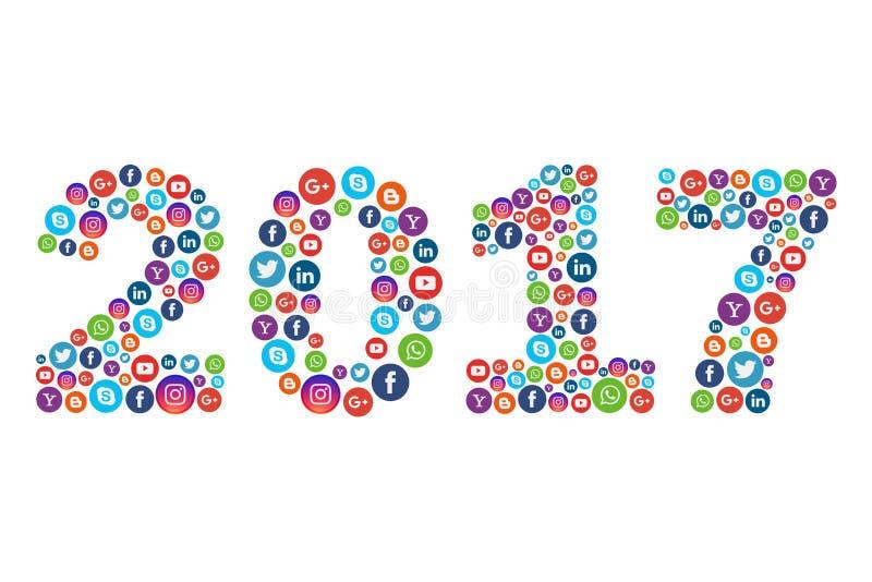 La nouvelle année 2017 avec l'illustration sociale d'icônes de media - dirigez l'ENV illustration libre de droits