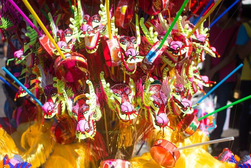 La nouvelle année chinoise joue, plan rapproché de dragon de danse sur le fond de fête , La Thaïlande photo stock