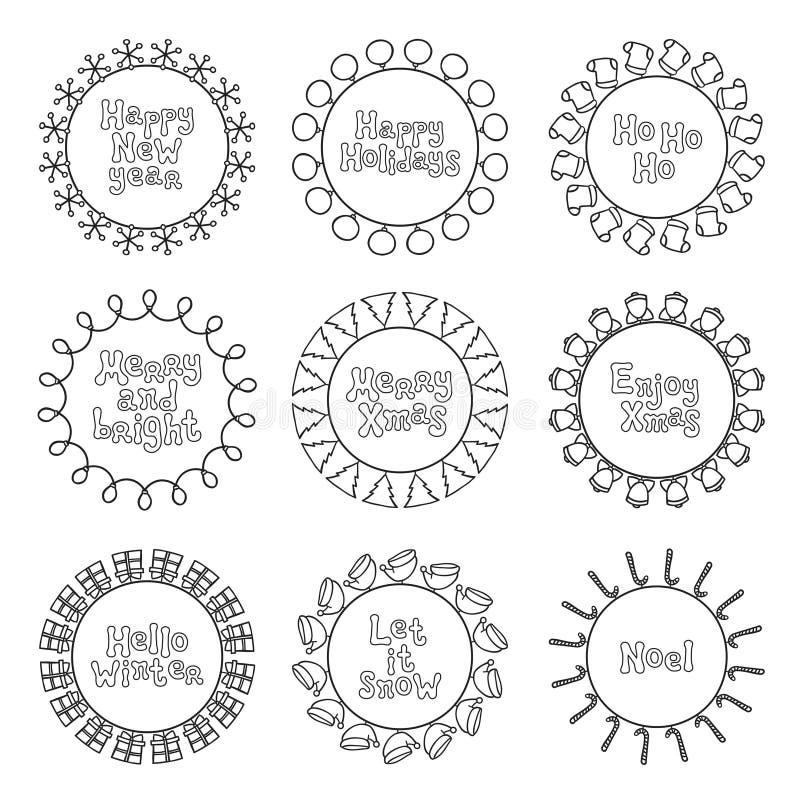 La nouvelle année de Joyeux Noël souhaite des autocollants et des insignes de labels Cadre tiré par la main de cadre Expression d illustration stock