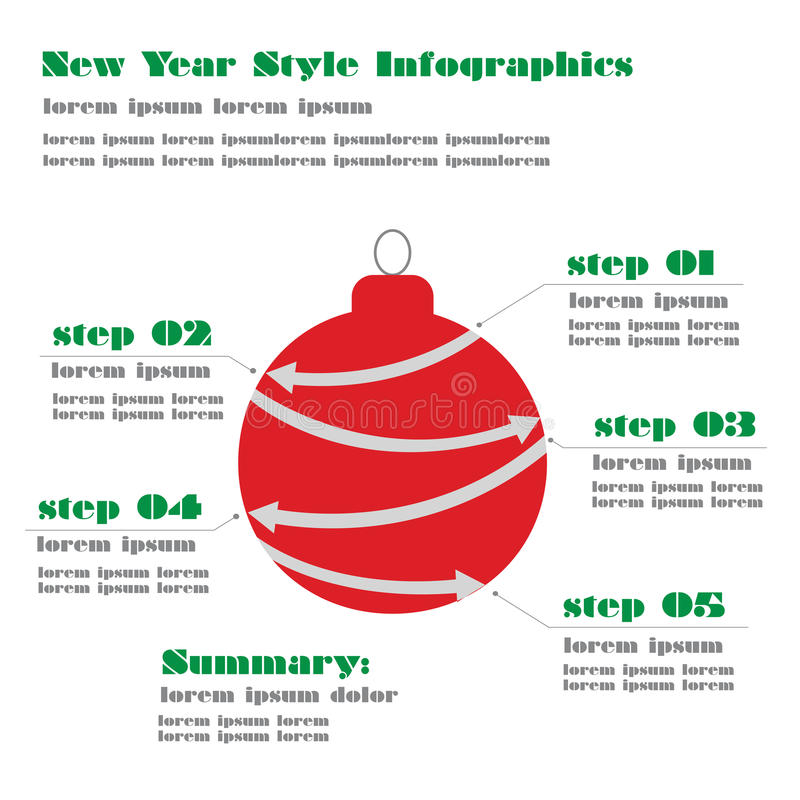 La nouvelle année et les affaires modernes de Noël fait un pas aux diagrammes a de succès illustration libre de droits