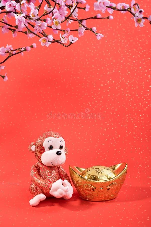 La nouvelle année lunaire chinoise ornemente le jouet du singe images libres de droits