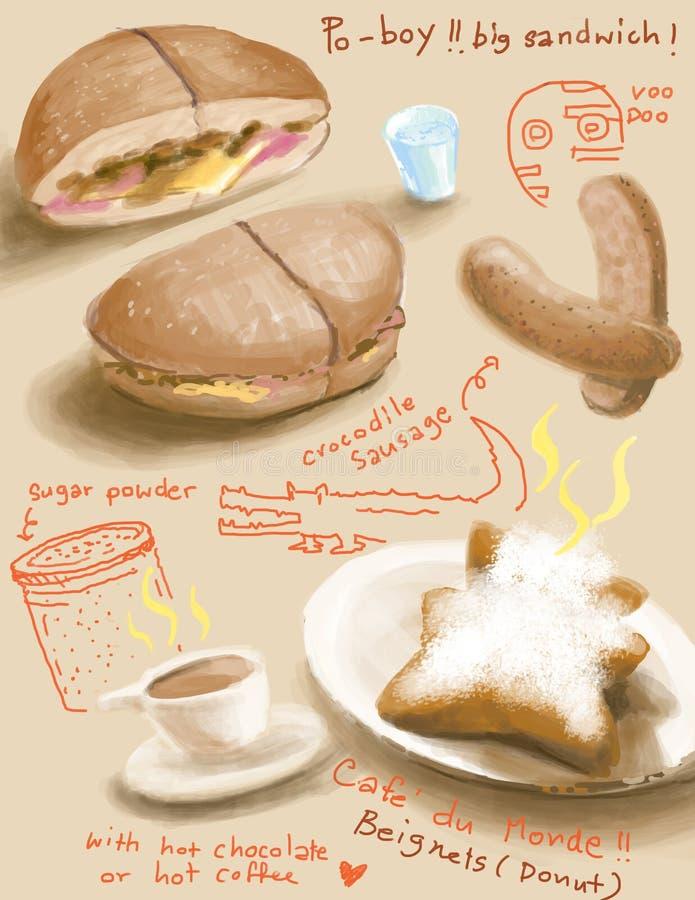 La Nouvelle-Orléans, illustration méridionale de nourriture illustration stock