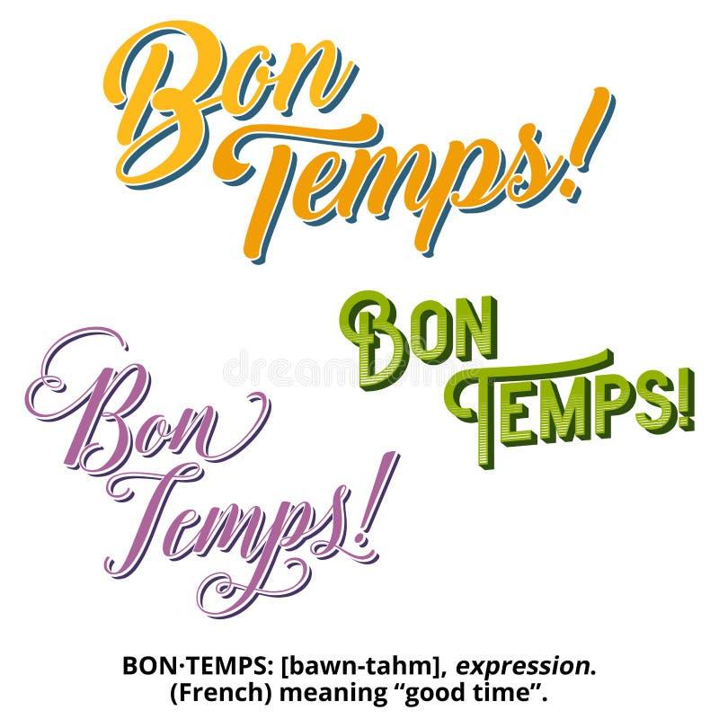 La Nouvelle-Orléans Mardi Gras Bon Temps Design et typographie illustration stock