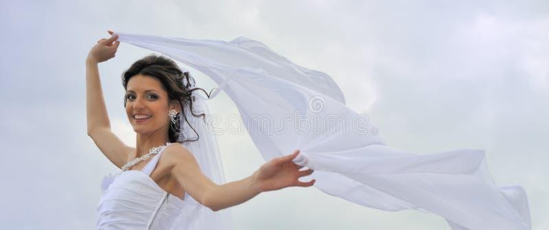 La novia con un velo que agita fotografía de archivo