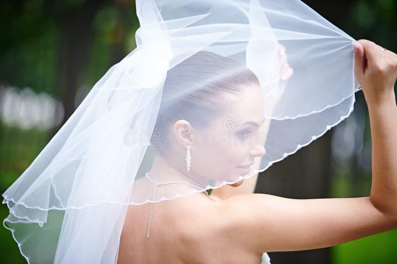 La novia feliz guarda velo fotografía de archivo libre de regalías