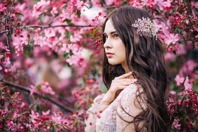La novia linda hermosa de la muchacha en vestido transparente del cordón del gabinete de señora, con la decoración en el pelo, ce fotografía de archivo libre de regalías
