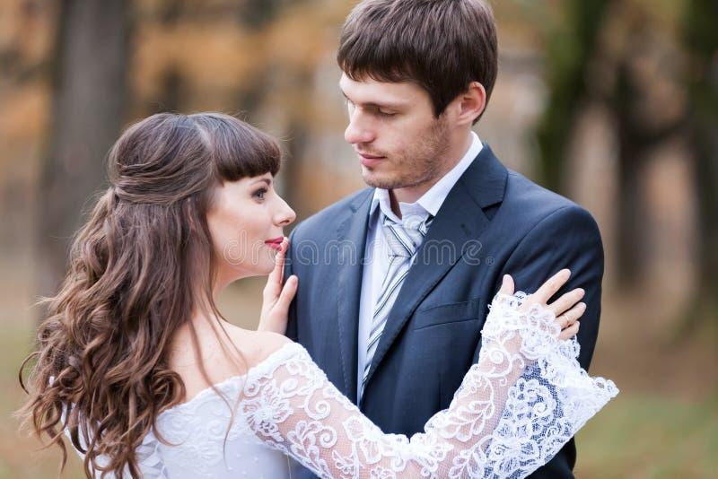 La novia morena y el novio, se cierran para arriba fotos de archivo