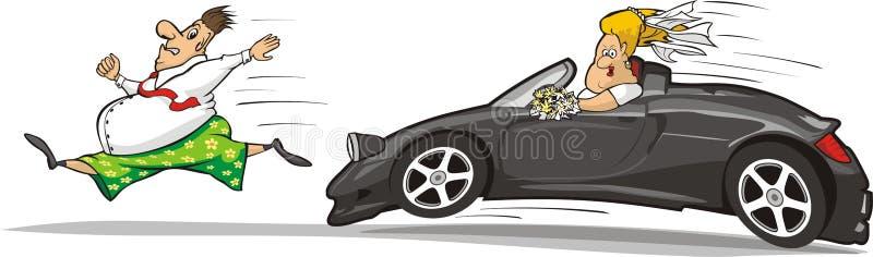 La novia que persigue al novio stock de ilustración