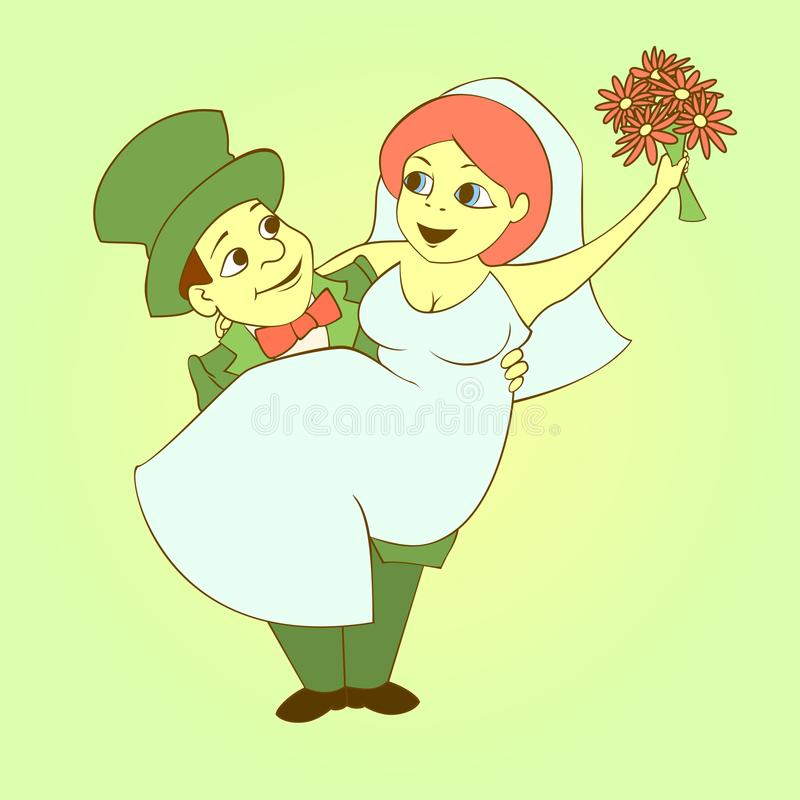 La novia y el novio stock de ilustración