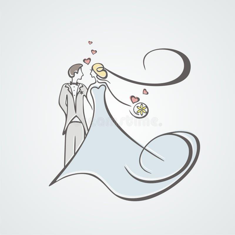 La novia y el novio ilustración del vector