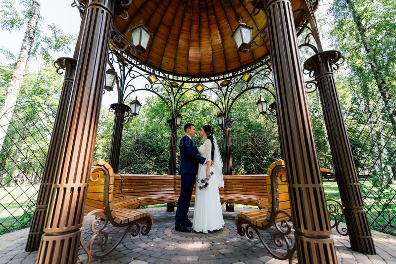La novia y el novio abrazan y miran uno a en el cenador Pares en amor en el día de boda en el parque fotografía de archivo libre de regalías