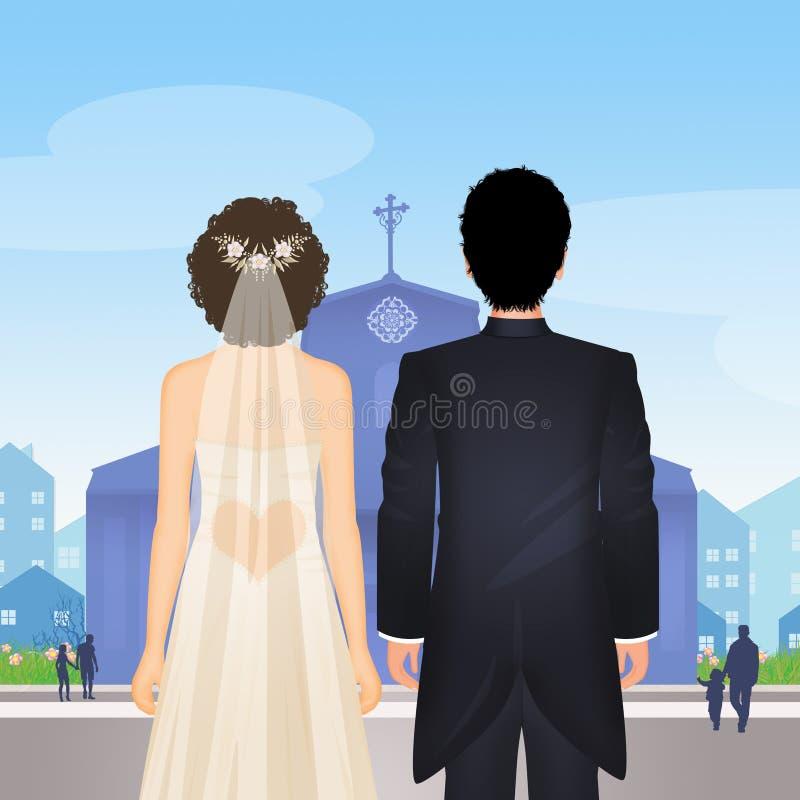La novia y el novio consiguen casados en la iglesia libre illustration