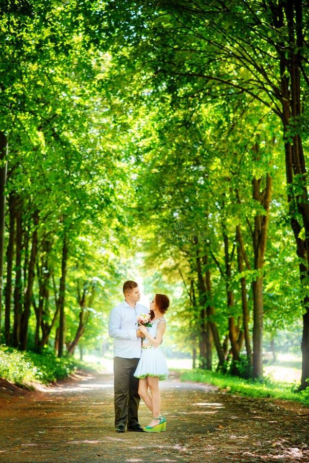 La novia y el novio en el parque Un par de recienes casados, la novia a foto de archivo libre de regalías