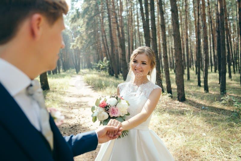 La novia y el novio en vestidos de boda en fondo natural Día de boda Los recienes casados están caminando a través del bosque fotos de archivo libres de regalías