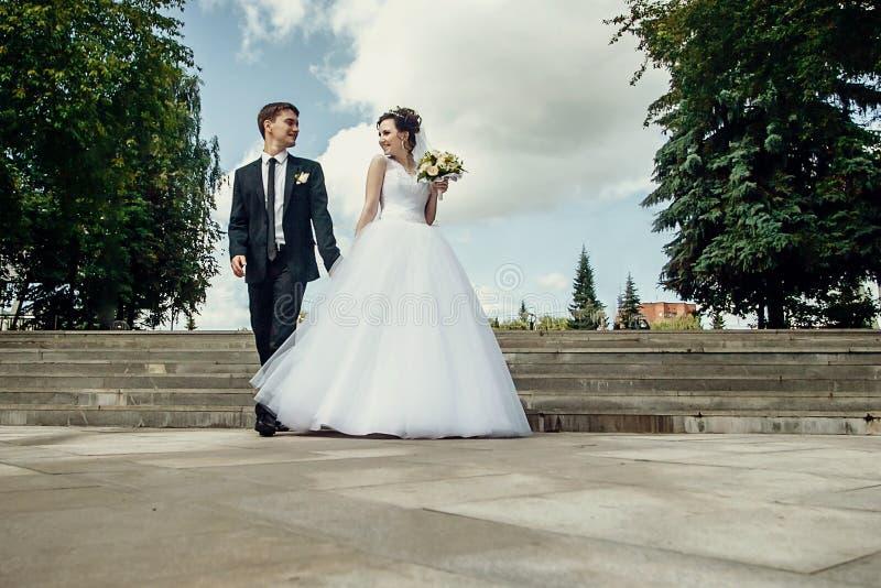 La novia y el novio felices caminan las calles de la ciudad, miran uno a y llevan a cabo las manos imagen de archivo libre de regalías